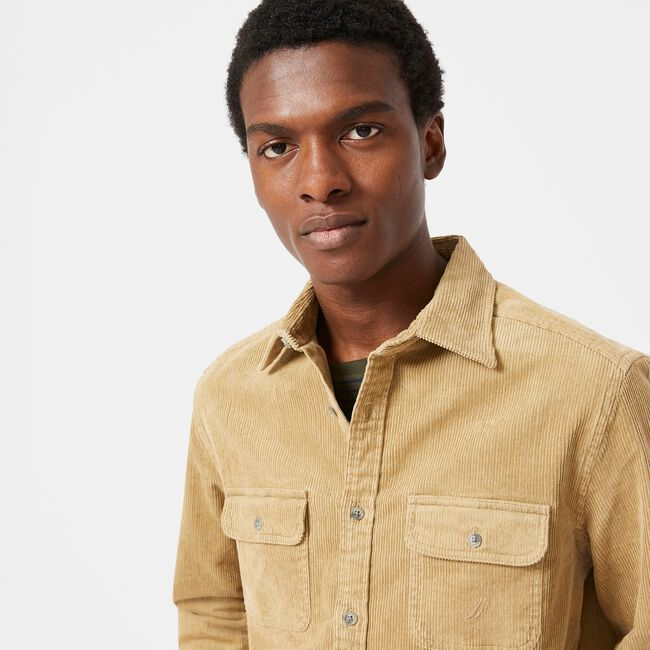 CORDUROY OVERSHIRT,Dark Brown,large