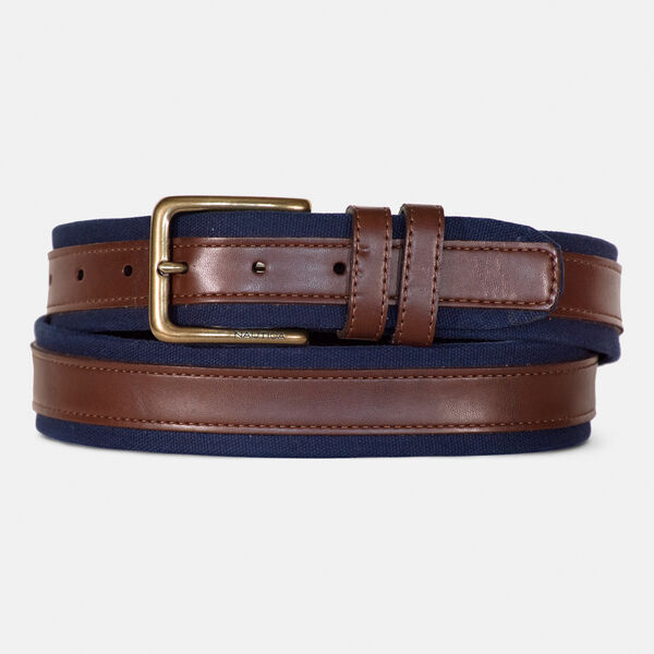 FAUX-LEATHER-TRIMMED BELT - Brown Stone