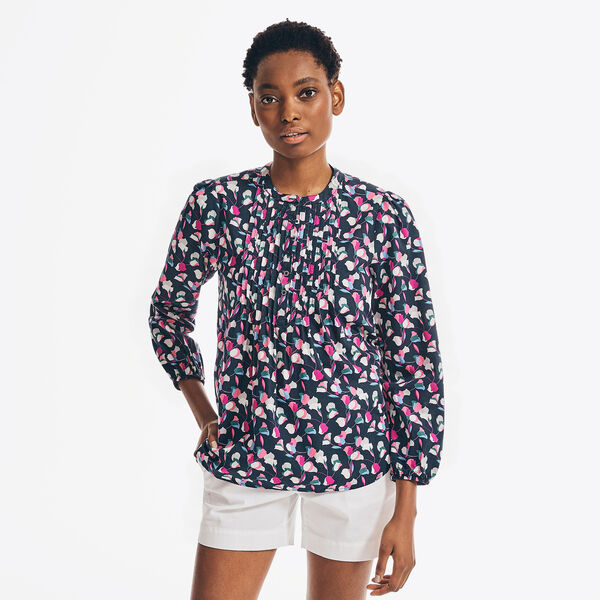 SUSTAINABLY CRAFTED TULIP PRINT TOP - Stellar Blue Heather