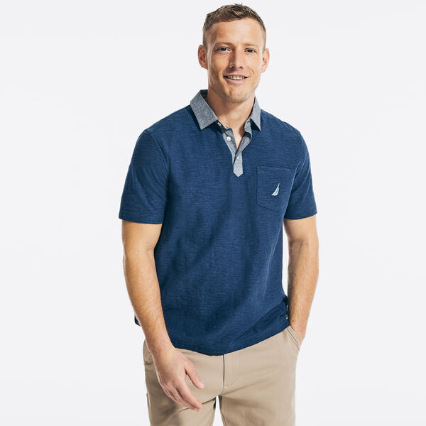 CLASSIC FIT CHAMBRAY COLLAR POLO - Sapphire/Pitch Yellow
