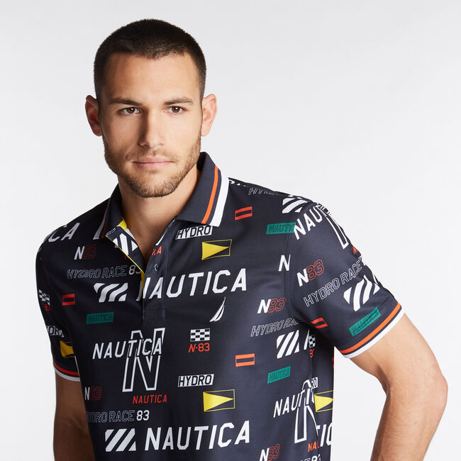 CLASSIC FIT HYDRO PIQUÉ PRINT POLO,Navy,large