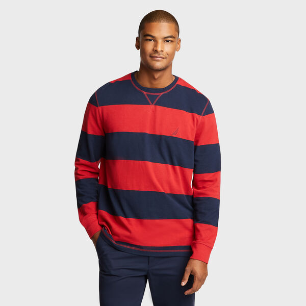 Rugby Stripe Crewneck Sweater - Rescue Red