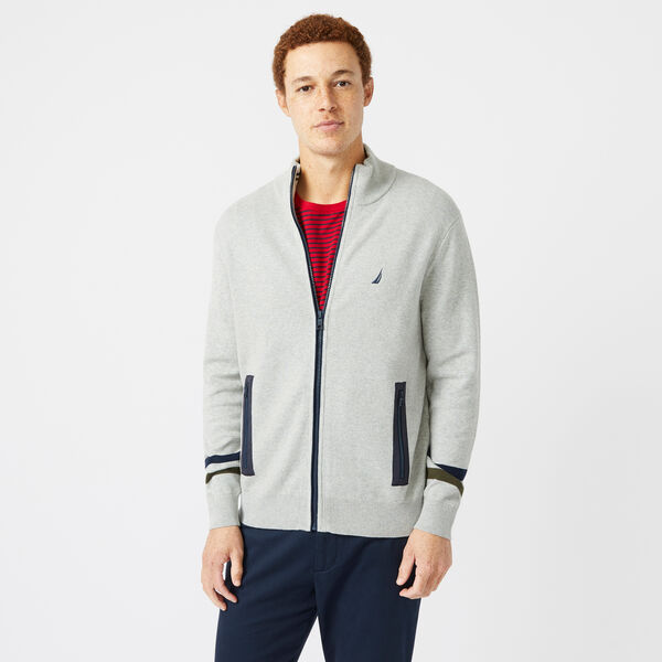 STRIPE-SLEEVE FULL-ZIP SWEATER - Grey Heather