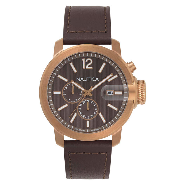 Sydney Multifunction Watch with Leather Band,Multi,large