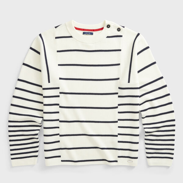 SUSTAINABLY CRAFTED STRIPED KNIT SWEATER - Marshmallow