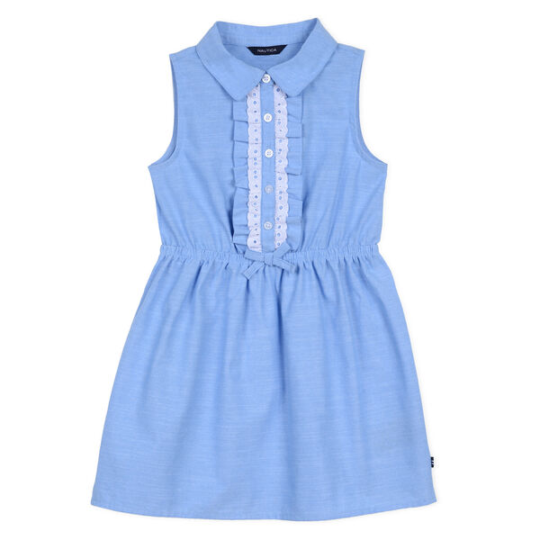 Girls' Ruffle Chambray Dress (8-20) - Peacoat