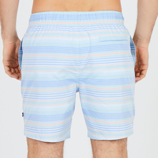 Big & Tall Summer Stripe Full-Elastic Swim Trunks,Starlight Blue,large