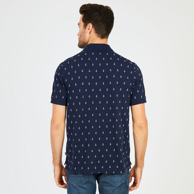 Big & Tall Anchor Motif Classic Fit Deck Polo,Navy,large