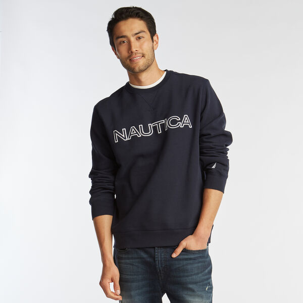 NAUTICA LOGO CREWNECK SWEATSHIRT - Pure Dark Pacific Wash