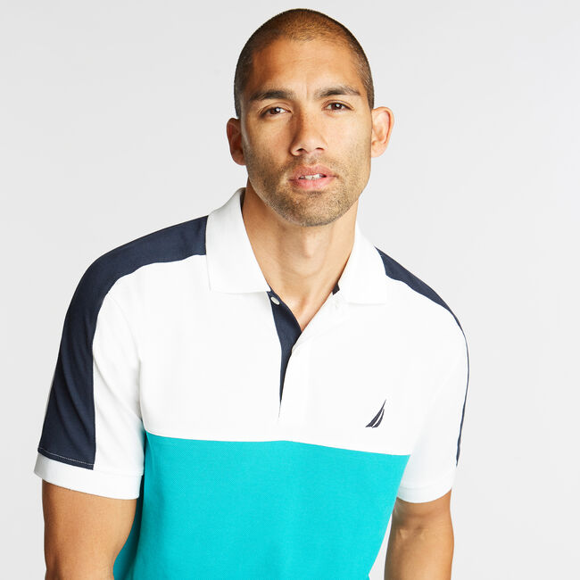 CLASSIC FIT POLO IN COLORBLOCK,Bright White,large