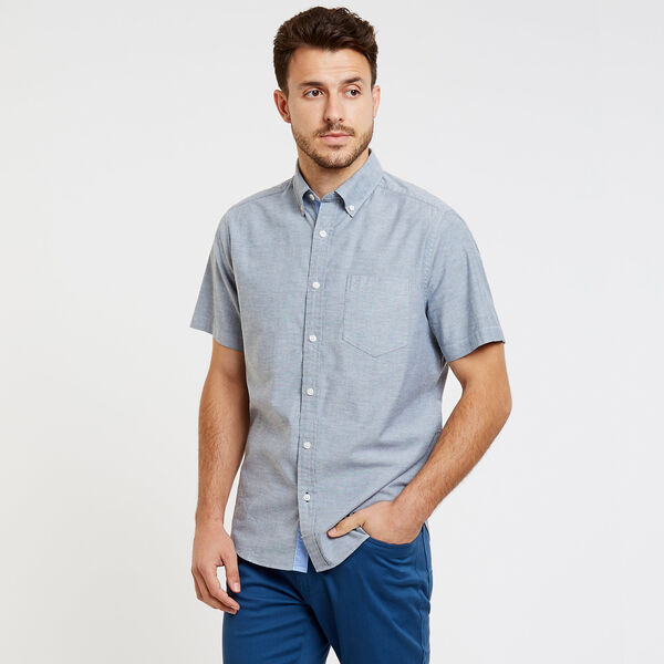 CLASSIC FIT STRETCH SHORT SLEEVE OXFORD SHIRT - Pure Dark Pacific Wash