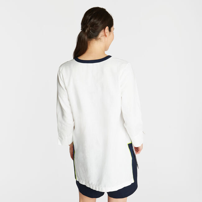 LINEN TUNIC TOP IN CONTRAST TRIM,Bright White,large