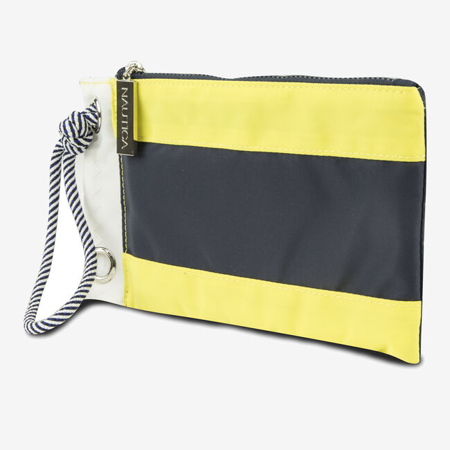Signal Flag Wristlet - Yellow & Navy,Canary,large