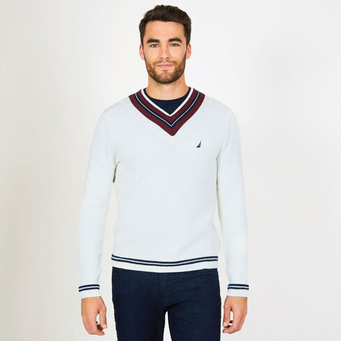 Cable Tipped V-Neck Sweater - Marshmallow