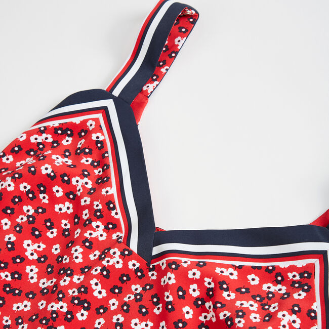 NAUTICA JEANS CO. FLORAL PRINT TANK DRESS,Tomales Red,large