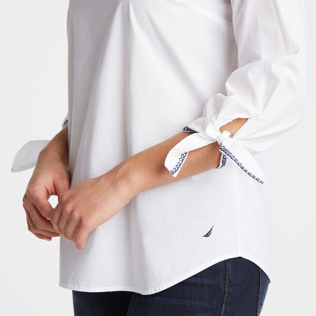 Embroidered Tie Cuff Top,Bright White,large