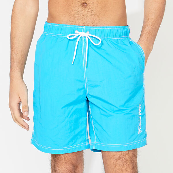 "8"" SOLID EMBROIDERED LOGO SWIM TRUNKS - Capri Blue"