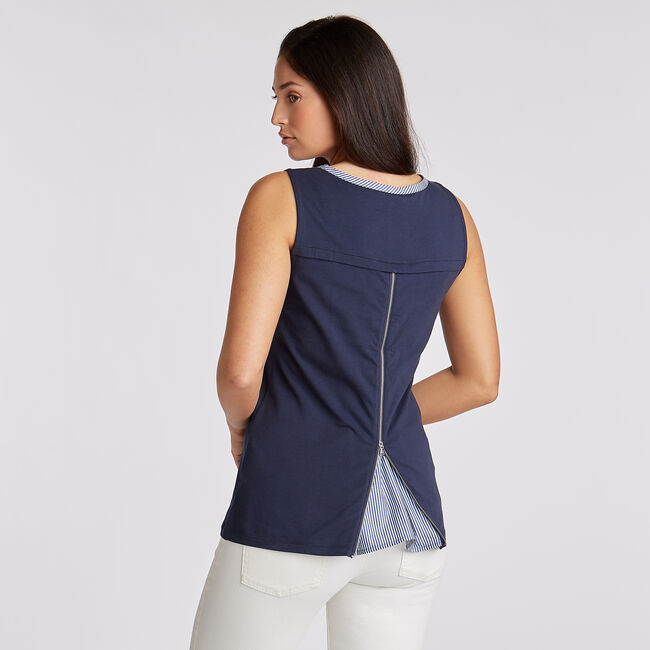 Sleeveless Jersey & Poplin Top,Stellar Blue Heather,large