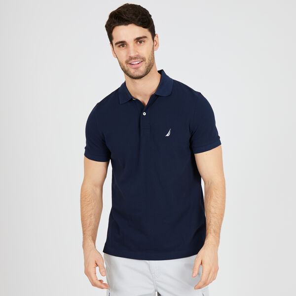 SLIM FIT MESH POLO - Navy