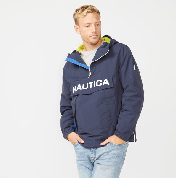 LIGHTWEIGHT HOODED PULLOVER JACKET - Navy