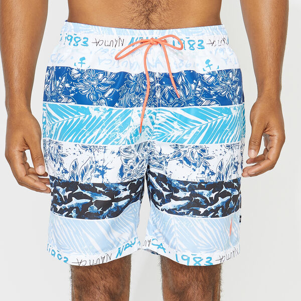 "8"" STRIPE PRINT SWIM TRUNKS - Bright White"