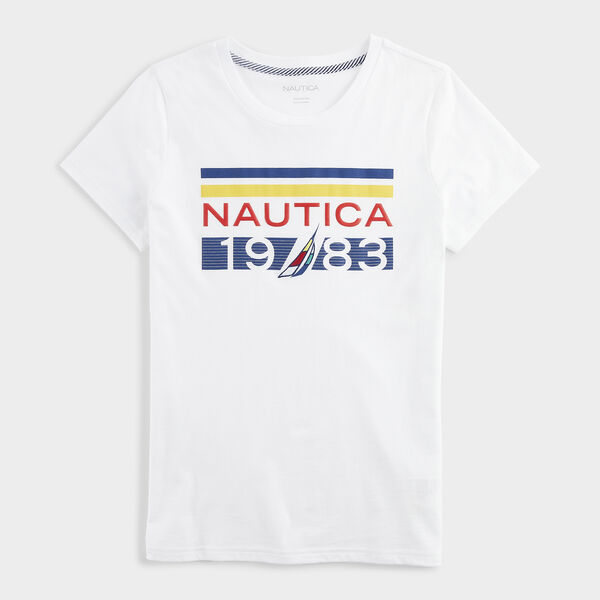 MULTICOLOR STRIPE 1983 LOGO T-SHIRT - Bright White