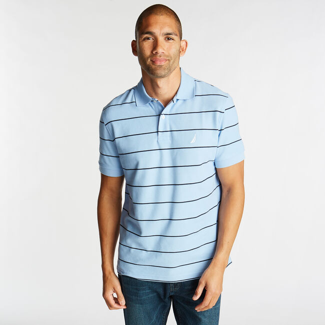 Classic Fit Striped Performance  Polo Shirt,Azure Blue,large