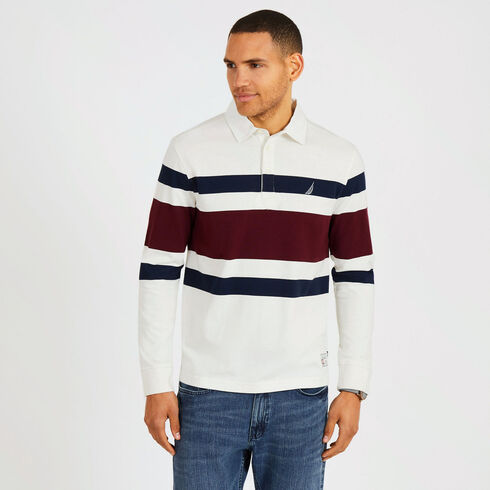 Rugby Stripe Classic Fit Long Sleeve Shipman Polo - Marshmallow