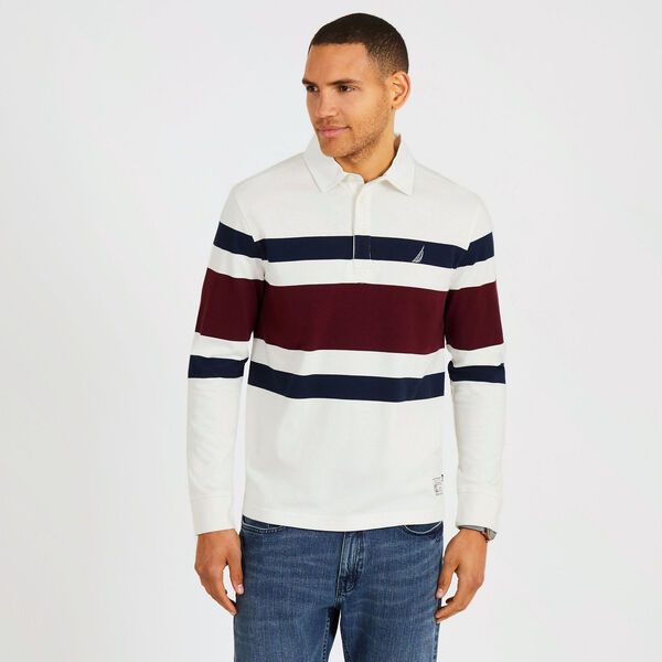 Long Sleeve Classic Fit Rugby Stripe Polo - Marshmallow