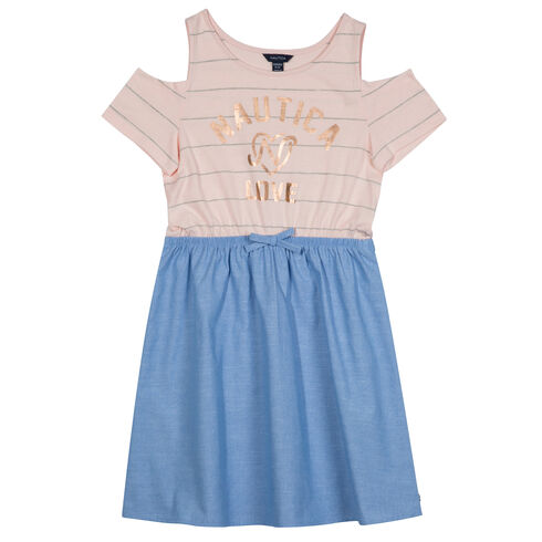 Little Girls' Love Chambray Bottom Dress (4-6X) - Shipwreck Burgundy