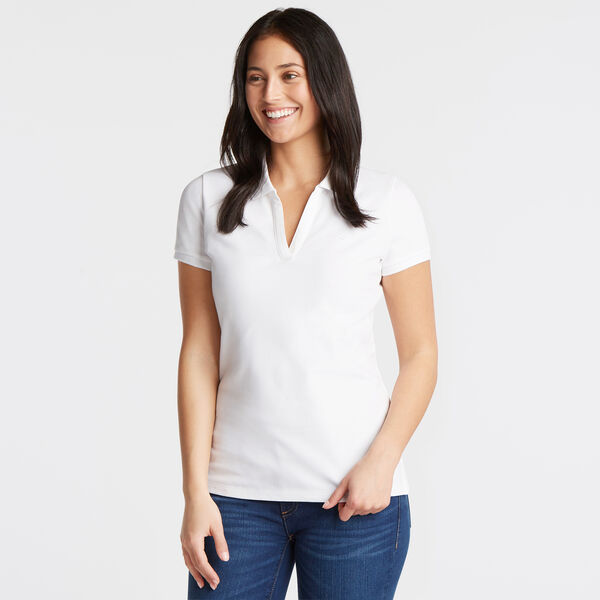 Split-Neck Classic Fit Polo Shirt - Bright White