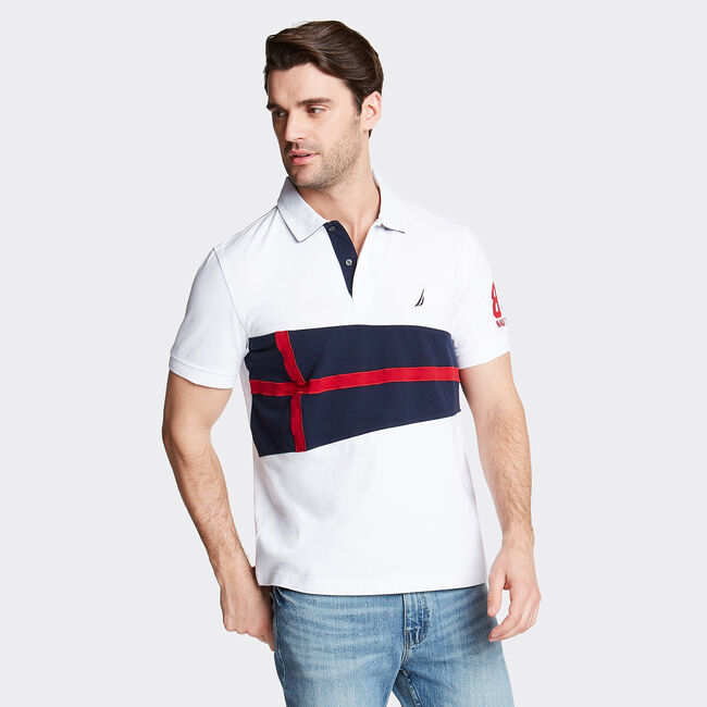 Classic Fit Jersey Polo in Flag Appliqué,Bright White,large