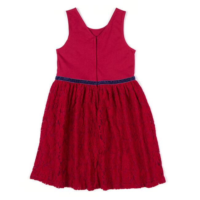 Girls' Lace Dress with Velvet Trim (8-16),Tango Red,large