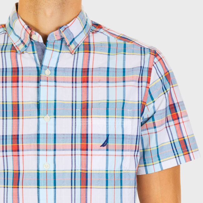 Big & Tall Short Sleeve Classic Fit Poplin Plaid Shirt,Bright White,large
