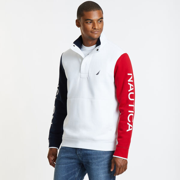 Colorblock Heritage Mock-Neck Active Pullover - Bright White