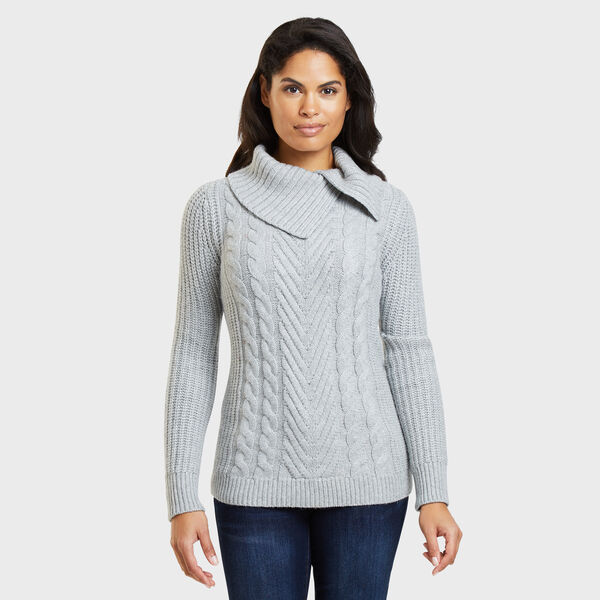 Split Turtleneck Cable Sweater - Fog