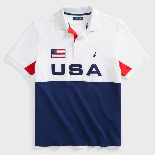 CLASSIC FIT COLORBLOCK USA PRINT POLO,Bright White,large