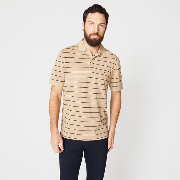 Classic Fit Mesh Polo in Breton Stripe - Camel Heather