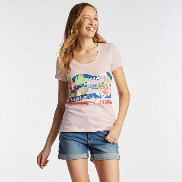 SCOOP NECK T-SHIRT IN FLORAL GRAPHIC - Cradle Pink