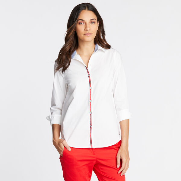 RIBBON TRIM PERFECT SHIRT - Bright White