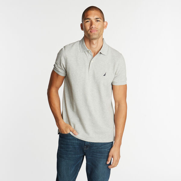 SLIM FIT MESH POLO - Grey Heather
