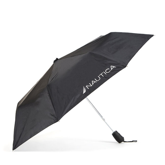 Black Compact Umbrella with UPF 50,True Black,large