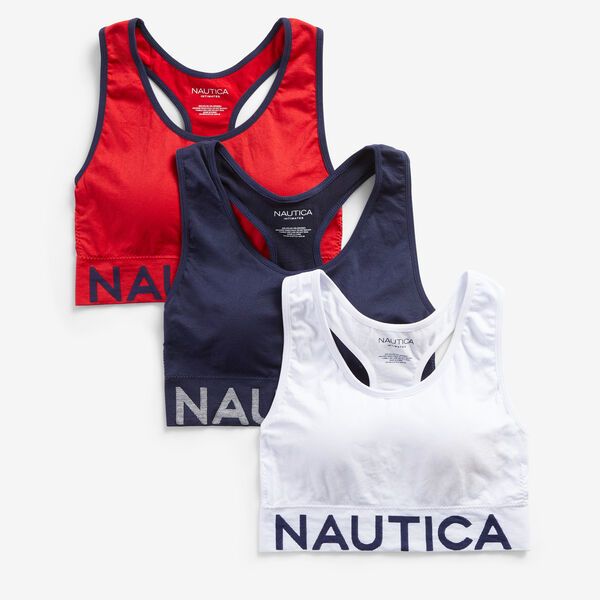 LOGO-EMBROIDERED RACERBACK BRA, 3-PACK - Nautica Red