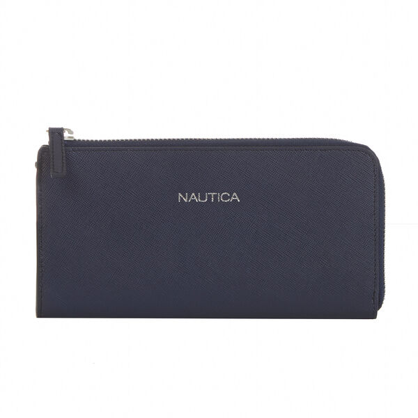 Saffiano Leather Continental Wallet - Ice Blue