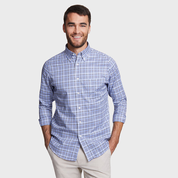 CLASSIC FIT SHIRT IN MARINE BLUE PLAID - Powder Blue