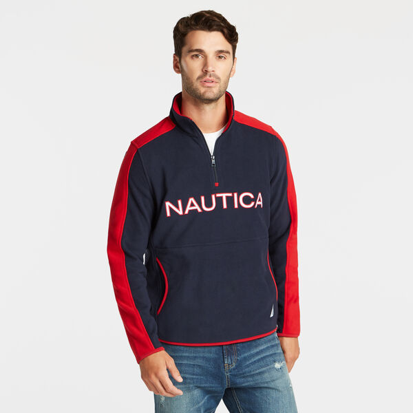 QUARTER ZIP LOGO NAUTEX FLEECE PULLOVER - Pure Dark Pacific Wash
