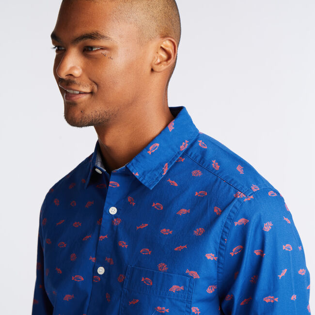 CLASSIC FIT POPLIN SHIRT IN NAVY FISH PRINT,Clear Sky Blue,large