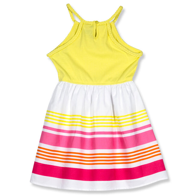 Girls' Halter Dress With Striped Skirt (7-16),Yellow (nrma Code),large