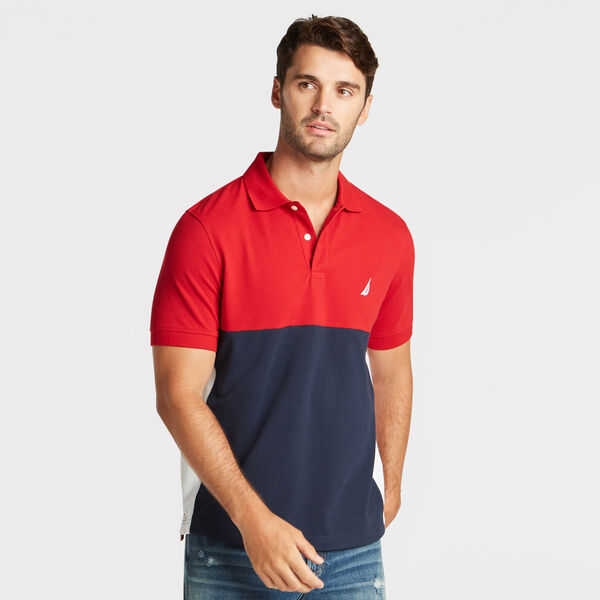 CLASSIC FIT PERFORMANCE MESH COLORBLOCK POLO - Nautica Red