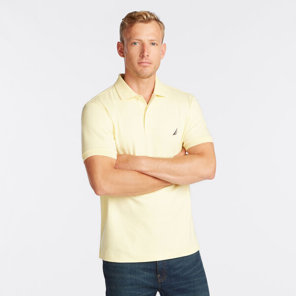 Slim Fit Solid Interlock Cotton Polo - French Vanilla